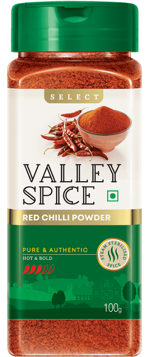 Valley Spice Red Chilli Hot and Bold 100g Bottle
