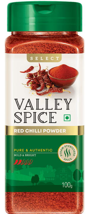 Valley Spice Red Chilli Mild and Bright 100g Bottle